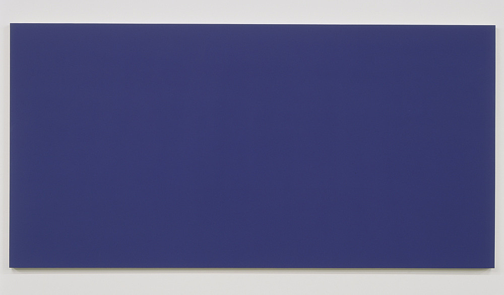 """Morgan Fisher – """"Pendant Pair Painting (violet/yellow)"""", 2007 1 of 2 works, acrylic on canvas on wood 100 x 200 cm"""