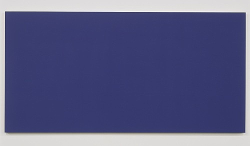 "Morgan Fisher – ""Pendant Pair Painting (violet/yellow)"", 2007 1 of 2 works, acrylic on canvas on wood 100 x 200 cm"