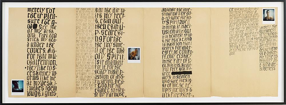 "Richard Hawkins – ""The Fart of God"", 1987 ink and polaroids on manila paper 61 x 184 cm"