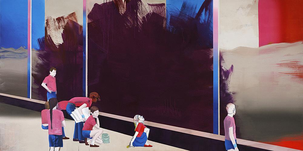 "Thomas Eggerer – ""Friday's Child"", 2009 acrylic and oil on canvas 117 x 235 cm"
