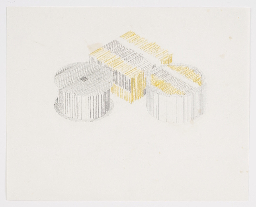 """Morgan Fisher – """"Film Cans and Film Boxes"""", 1968 spray paint on paper 46 x 61 cm"""