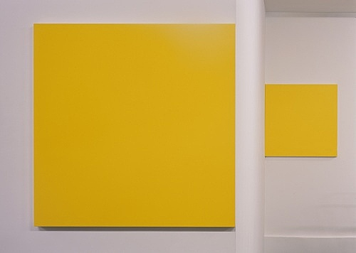 "Morgan Fisher – ""Pendant Pair Painting (violet/yellow)"", 2007 1 of 2 works, acrylic on canvas on wood 2 parts, each 100 x 100 cm"