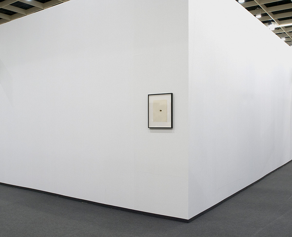 Tony Conrad – Untitled, 1977 collage, photo corner and stamp on paper 30,3 x 22,7 cm installation view Galerie Daniel Buchholz, Art Cologne 2008