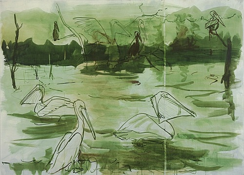 "Thomas Eggerer – ""Twilight Lagoon"", 2005 acrylic and pencil on paper 130 x 180 cm"