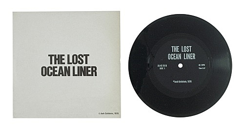 """Jack Goldstein – """"A Suite of Nine 7-Inch Records"""", 1976 45 rpm, different colored 7-inch vinyl detail: """"The Lost Ocean Liner"""", 1976 45 rpm, black vinyl"""