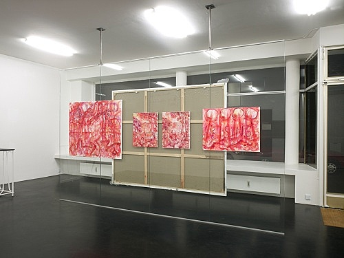 "Jutta Koether – ""New Yorker Fenster"" installation view Galerie Daniel Buchholz, Köln 2008"
