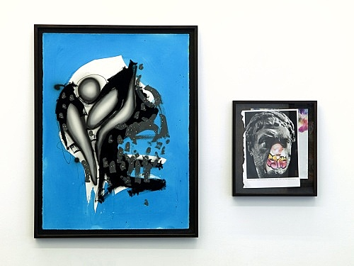 """Aaron Curry – """"Compositional Masks / Schizoid Sorceres"""", 2008 collage, ink, gouache and acrylic on paper 82,6 x 63,5 cm, 37,5 x 33 cm"""
