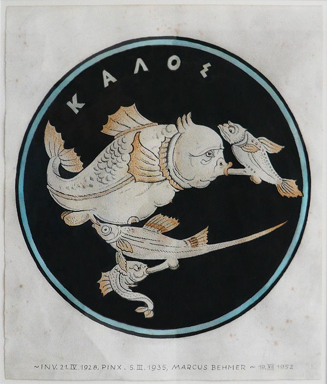 """Marcus Behmer – """"Kalos (Fischorgie)"""", 1928 (Berlin) Aquarell und farbige Kreide über Tusche auf Bütten 33,2 x 28,5 cm"""