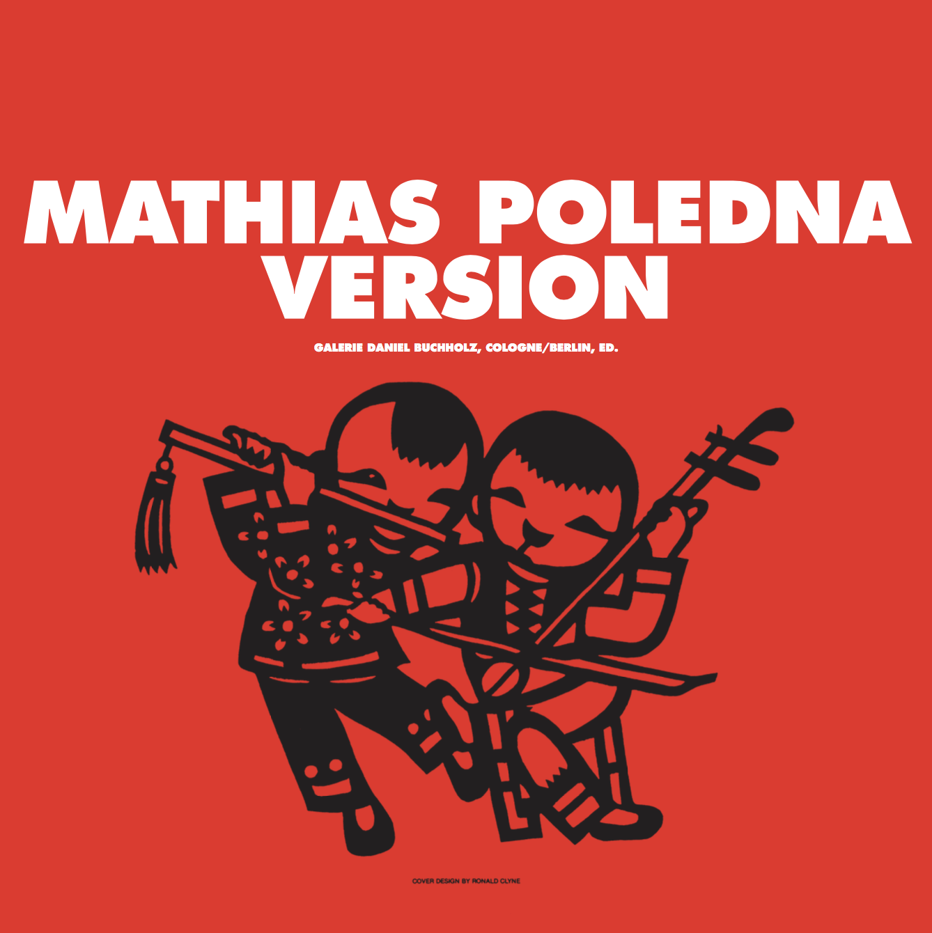 "Mathias Poledna – ""Version"" 2010, 52 pages, fully illustrated, Owrps, 31,4 x 31,4 cm, with supplement booklet, 25,4 x 25,4 cm Edition 800 Euro 25,- – This new publication documents Mathias Poledna's 2004 film installation ""Version"". The publication features a monographic essay by Juliane Rebentisch on the work and its companion piece, ""Sufferers' Version"". Conceived and designed by Mathias Poledna the publication takes on the form of a double LP-sleeve with an insert of large-scale plates and a supplementary booklet. The cover motive is a tribute to Ronald Clyne, the seminal designer of album sleeves for the US-label Folkways Records. A numbered edition of 10+1 is signed by the artist and contains a 12"" dubplate especially produced for this occasion."