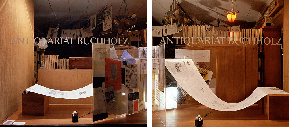 """Scorched Earth – """"Too Early, Too Late"""", 2006 window display installation view Antiquariat Buchholz, Köln 2006"""
