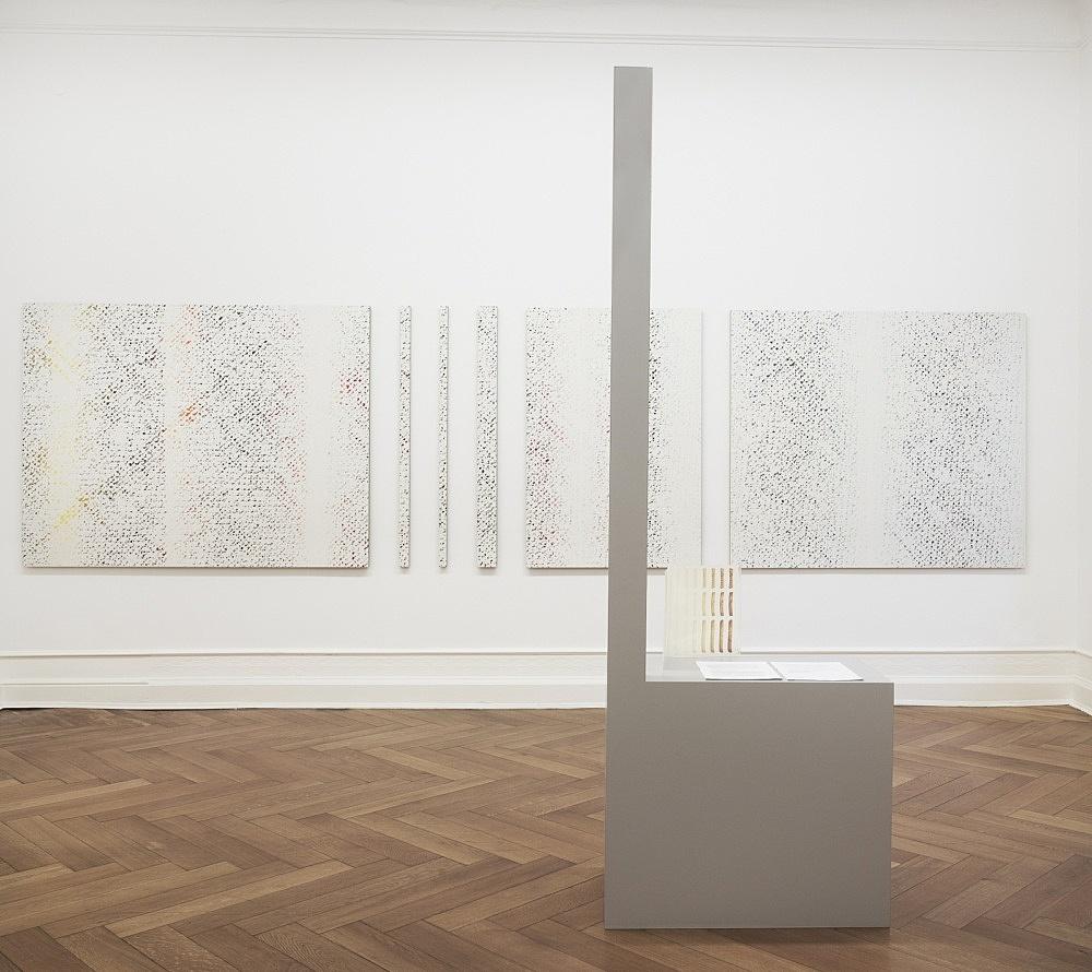 "Cheyney Thompson – ""Pedestals, Bias-cut, /Robert Macaire/, Chronochromes"" installation view Galerie Daniel Buchholz, Berlin 2009"