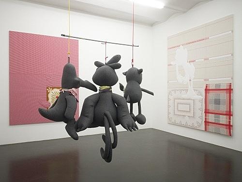 Cosima von Bonin – THROWN OUT OF DRAMA SCHOOL, 2008 tweed, towelling, cotton, silk, metal, leather, plastic approx. 195 x 180 x 100 cm installation view Galerie Daniel Buchholz, Köln 2008