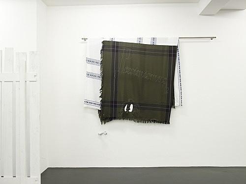 "Cosima von Bonin – ""PESSIMISMUS + DUFFY DUCK"", 2008 cotton, wool, metal, bone, lacquer 182 x 252 x 16 cm installation view Galerie Daniel Buchholz, Köln 2008"