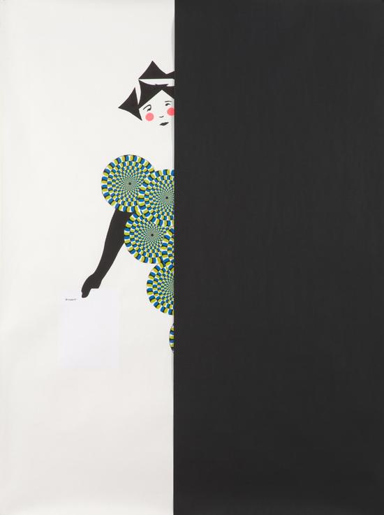 "Frances Stark – ""Chorus Girl (a part)"", 2008 paper collage, graphite on paper 193 x 147 cm"