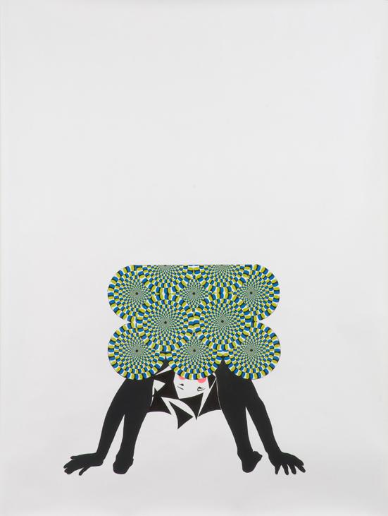 "Frances Stark – ""Chorus girl folding self in half"", 2008 paper collage, graphite on paper 193 x 147,5 cm"