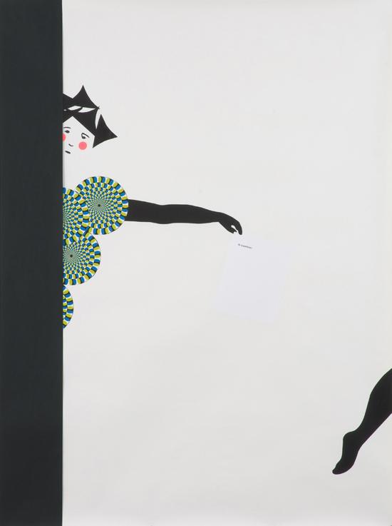 "Frances Stark – ""Member of chorus (a particle)"", 2008 paper collage, graphite on paper 193 x 147 cm"