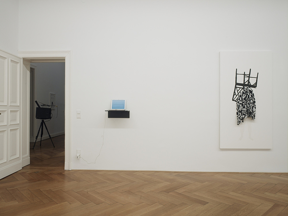 """Mark Leckey / Frances Stark – """"and possibly but not certainly Mark Leckey and Frances Stark"""" installation view Galerie Daniel Buchholz, Berlin 2009"""