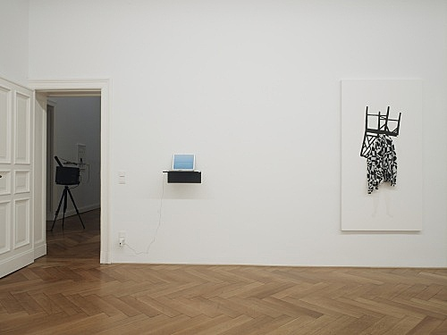 "Mark Leckey / Frances Stark – ""and possibly but not certainly Mark Leckey and Frances Stark"" installation view Galerie Daniel Buchholz, Berlin 2009"