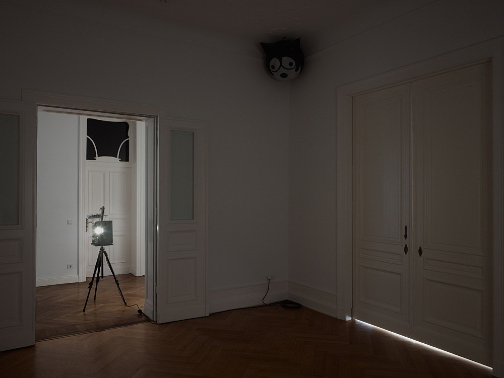 """Mark Leckey – """"and possibly but not certainly Mark Leckey and Frances Stark"""" installation view Galerie Daniel Buchholz, Berlin 2009"""
