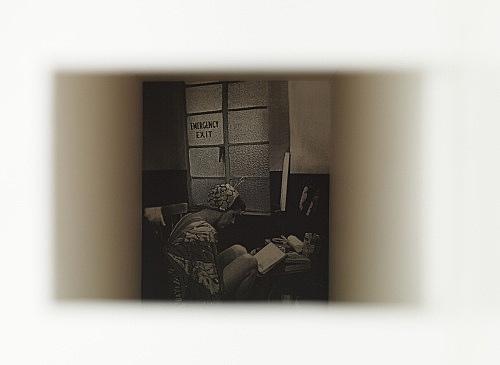 "Frances Stark – ""Emergency Exit"", 2009 ricepaper, Portikus foamcore marquette with insert 111 x 68 x 26 cm detail"