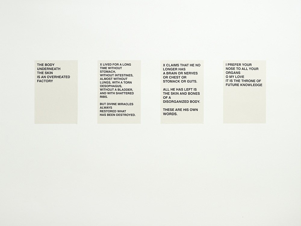 "Henrik Olesen – ""4 Plakate"", 2008 4 computer printouts on newsprint each 48 x 33 cm"