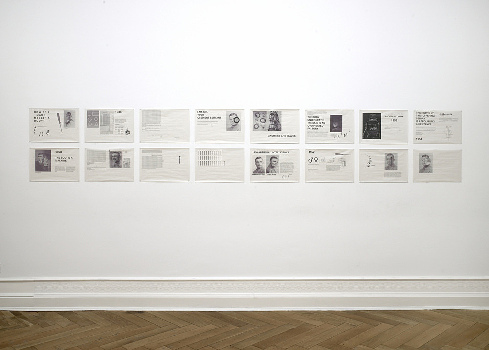 "Henrik Olesen – ""Some Illustrations to the life of Alan Turing"", 2008 16 computer printouts on newsprint each 33 x 48 cm installation view Galerie Daniel Buchholz, Berlin 2008"