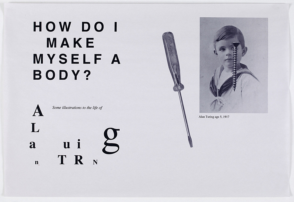 "Henrik Olesen – ""Some Illustrations to the life of Alan Turing"", 2008 16 computer printouts on newsprint each 33 x 48 cm detail"