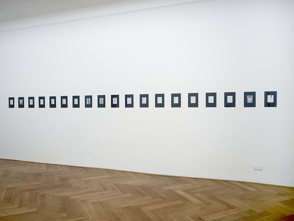 "Henrik Olesen – ""How do I make myself a body?"", 2008 19 computer collages behind glass partly worked over with felt pen / ball point pen each 29,7 x 21 cm installation view Galerie Daniel Buchholz, Berlin 2008"