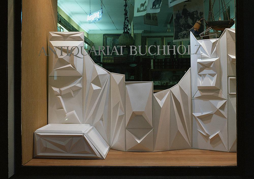 "Julian Göthe – ""Painted White in a Spirit of Rebellion"" 2002/2003 metal construction and white cardboard ca. 412 x 160 cm installation view Antiquariat Buchholz, Köln 2003"
