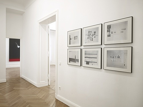 "Jack Goldstein – installation view Galerie Daniel Buchholz, Berlin 2009 James Welling ""Jack Goldstein's Studio"", 1977/2004 6 of 7 digital chromogenic prints each 30 x 37,5 cm"