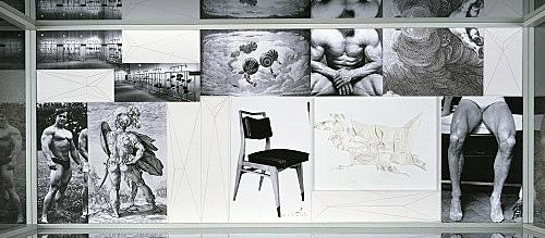 """Julian Göthe – """"Raphael/Gwyneth"""", 2003 b/w-xeroxes, drawings and folded paper object in vitrine 60 x 150 cm"""