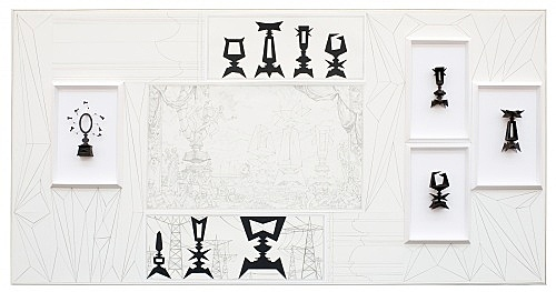 "Julian Göthe – ""Architecture de Fête - Star Guitar"", 2009 pencil on paper, cardboard in plexi frame 104 x 204 x 17 cm"
