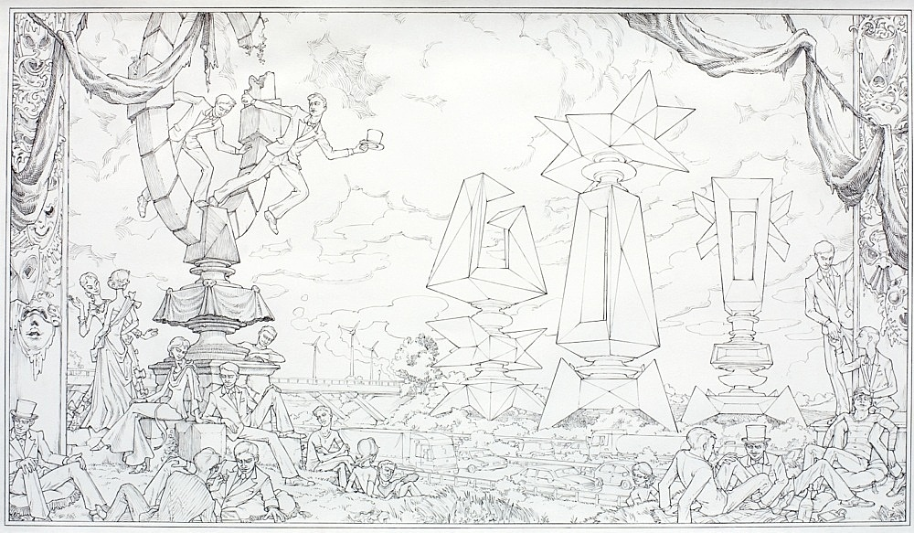 "Julian Göthe – ""Architecture de Fête – Star Guitar"", 2009 pencil on paper, cardboard in plexi frame 104 x 204 x 17 cm detail"