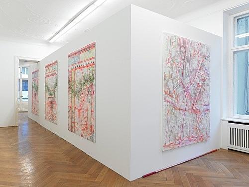 """Jutta Koether – """"Berliner Schlüssel"""" installation view Galerie Daniel Buchholz, 2011"""