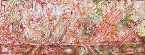 "Jutta Koether – ""Berliner Schlüssel #6"", 2010 acrylic on canvas 64.5 x 163 cm"
