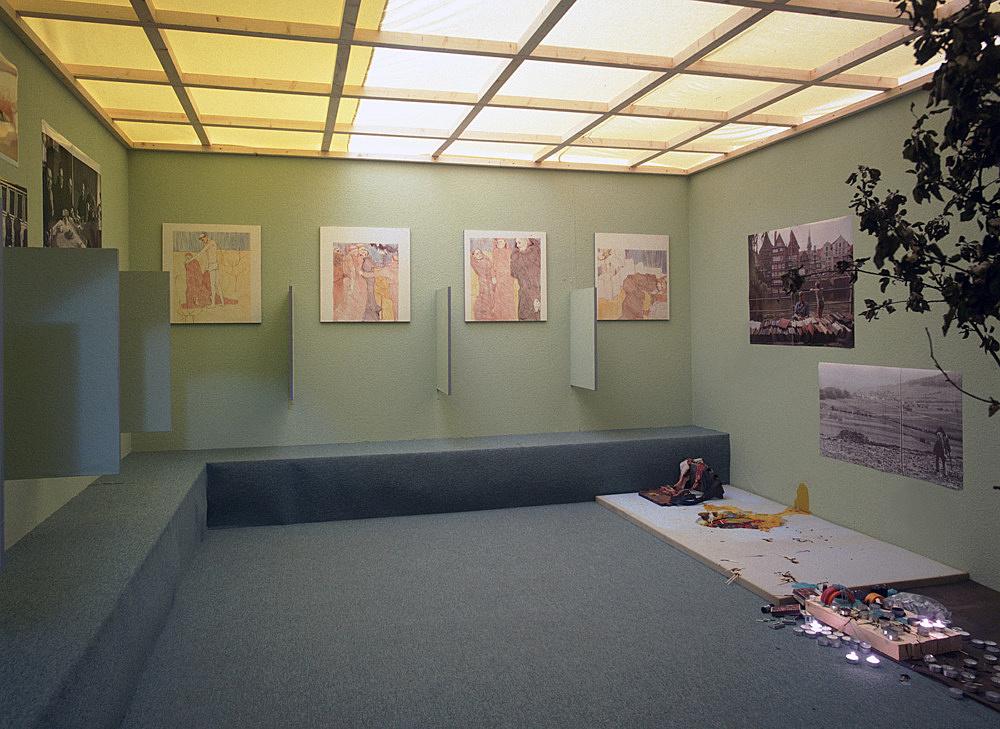 """Kai Althoff – """"Aus Dir"""" installation view Galerie Daniel Buchholz, Köln 2001"""