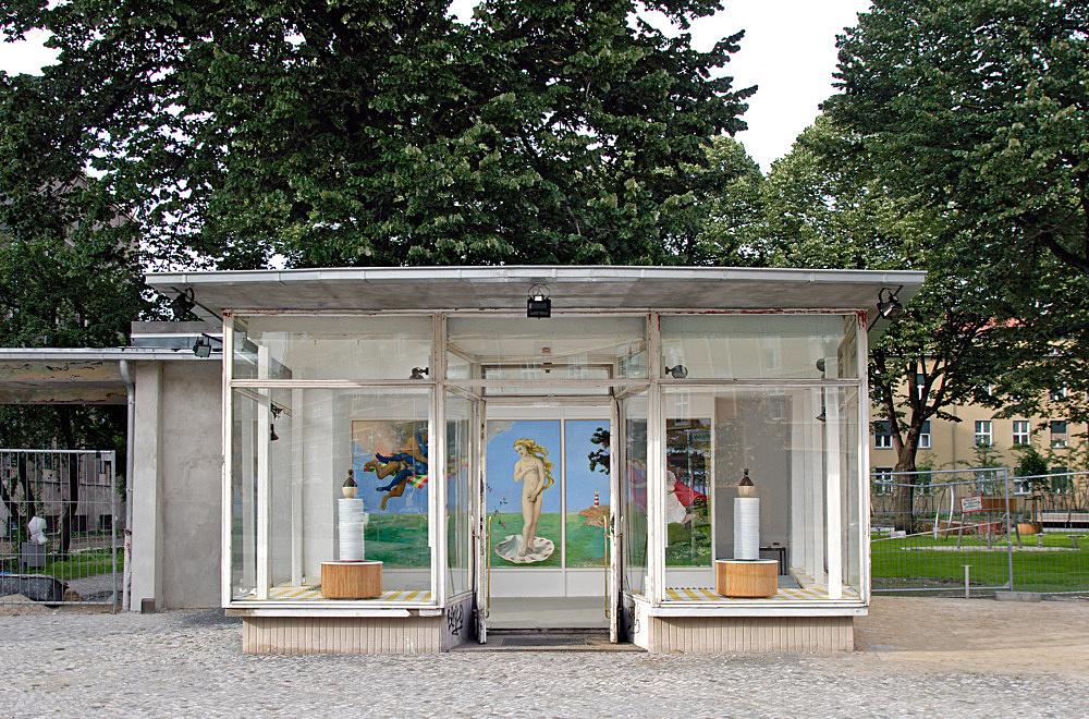 "Lukas Duwenhögger – ""The adventures of Venus – Her marvellous experience at the hands of Italians"" installation view Galerie Meerrettich im Glaspavillon an der Volksbühne Rosa-Luxemburg-Platz, Berlin"