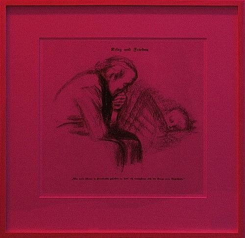 """Lucy McKenzie – """"Krieg und Frieden"""", 2004 digital print, framed 54 x 56 cm neon/color filter foil"""