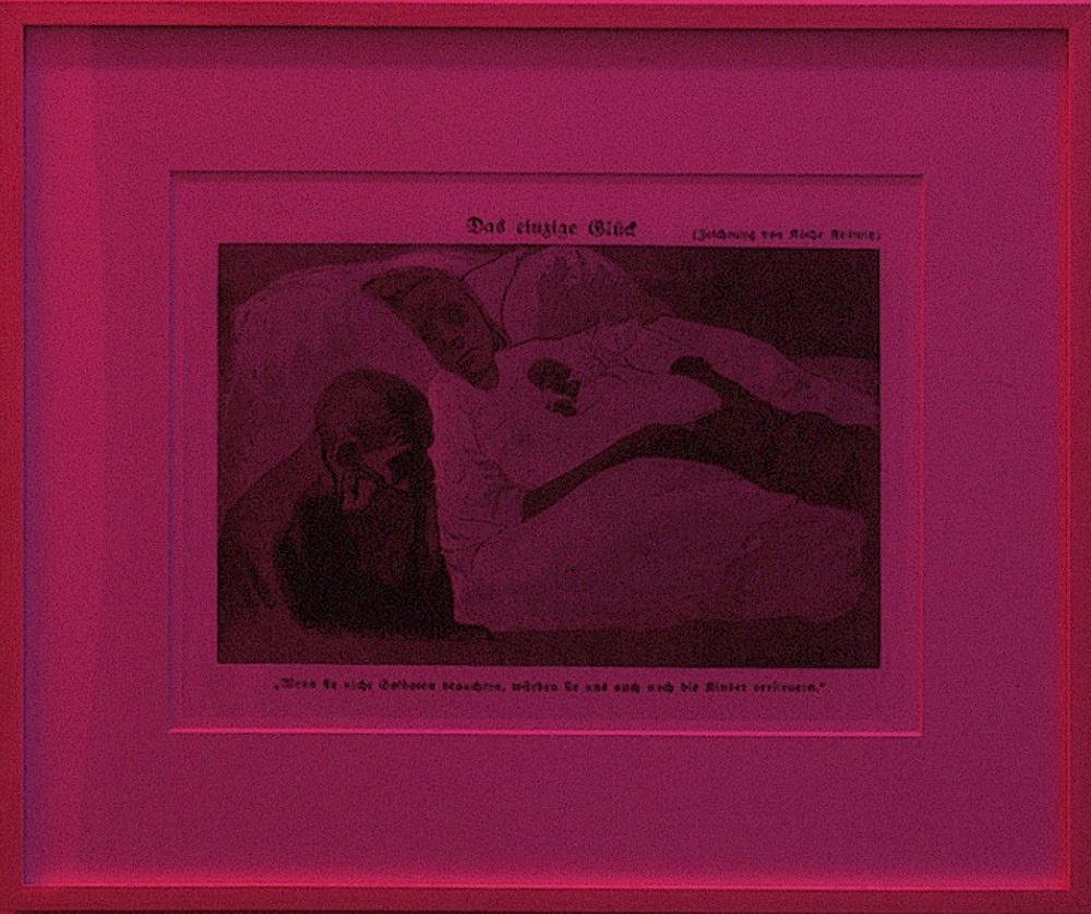 """Lucy McKenzie – """"Das einzige Glück"""", 2004 digital print, framed 46,5 x 56 cm neon/color filter foil"""
