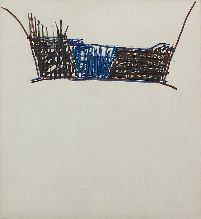 """Martin Barré – """"60-T-32"""", 1960 oil on canvas 96 x 90 cm"""