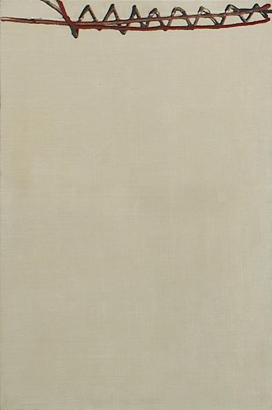 """Martin Barré – """"61-T-2"""", 1961 oil on canvas 81 x 54 cm"""