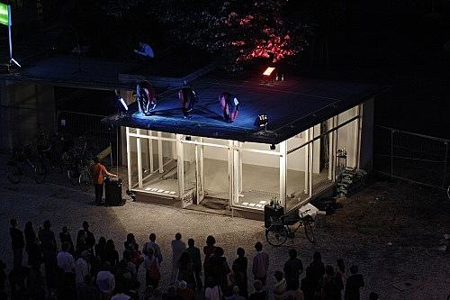 """Paulina Olowska – """"ALPHABET"""" installation view Galerie Meerrettich, im Glaspavillon an der Volksbühne Rosa-Luxemburg-Platz, Berlin 2005"""