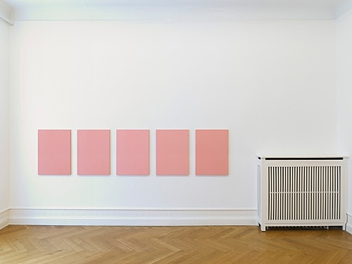 "Mathias Poledna – ""Untitled (Ultim'ora) #1-#5"", 2012 oil on cotton each 80 x 58 cm installation view Galerie Buchholz, Berlin 2012"