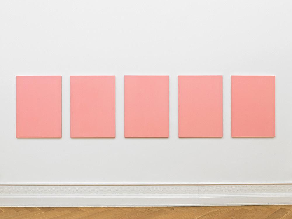 "Mathias Poledna – ""Untitled (Ultim'ora) #1-#5"", 2012 oil on cotton each 80 x 58 cm installation view Galerie Buchholz, Berlin 2012"
