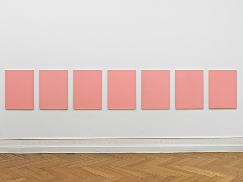 "Mathias Poledna – ""Untitled (Ultim'ora) #6-#12"", 2012 oil on cotton each 80 x 58 cm installation view Galerie Buchholz, Berlin 2012"