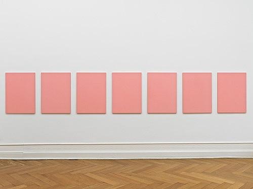 "Mathias Poledna – ""Untitled (Ultim'ora) #6-#12"", 2012 oil on cotton each 80 x 58 cm installation view Galerie Buchholz, Berlin 2012"