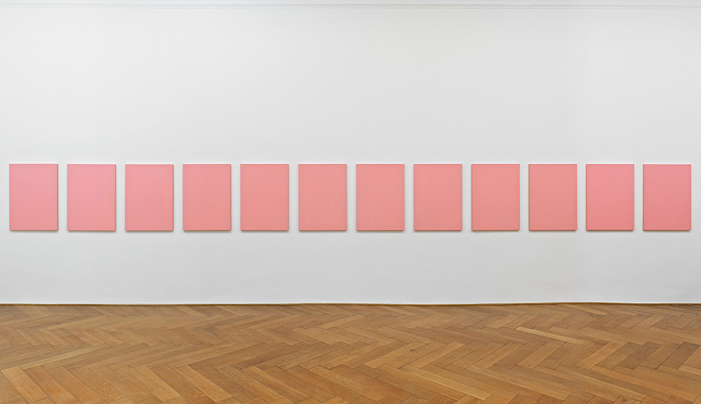 """Mathias Poledna – """"Untitled (Nuovo Look) #1 – #12"""", 2012 12 parts, oil on cotton each 80 x 58 cm installation view Galerie Buchholz, Berlin 2012"""