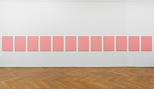 """Mathias Poledna – """"Untitled (Nuovo Look) #1 - #12"""", 2012 12 parts, oil on cotton each 80 x 58 cm installation view Galerie Buchholz, Berlin 2012"""