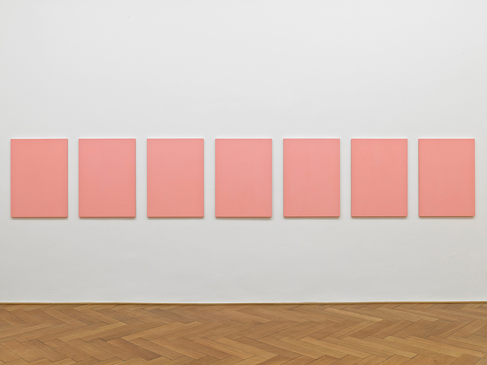 "Mathias Poledna – ""Untitled (Vedrete che vinceró) #1-#7"", 2012 oil on cotton each 80 x 58 cm installation view Galerie Buchholz, Berlin 2012"