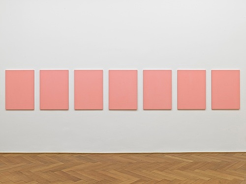 "Mathias Poledna – ""Untitled (Vedrete che vinceró) #1-#7"", 2012 oil on cotton each 80 x 58 cm installation view Galerie Buchholz, Berlin 2012"